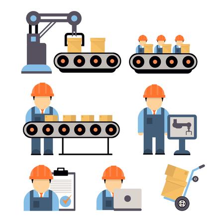 Proceso de producción, instalación de equipos de ingeniería de los operadores de máquinas de producción industriales iconos línea plana ilustración vectorial separada
