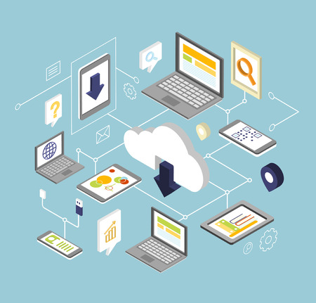 Cloud-Computing-Security-Konzept-Design mit Computer, Tablet, Laptop und Smartphone. Eps10 Vektor-Illustration Standard-Bild - 47535942