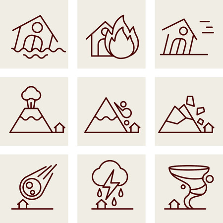 Natural Disaster Icons set vector line style