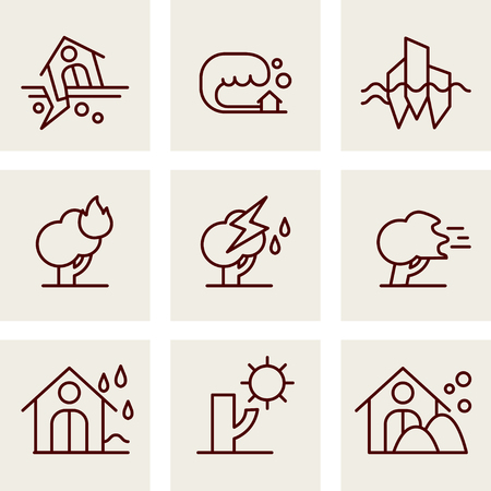 natural disaster: Natural Disaster Icons set vector line style
