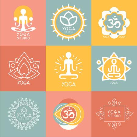 namaste: Set of yoga and meditation graphics and logo symbols