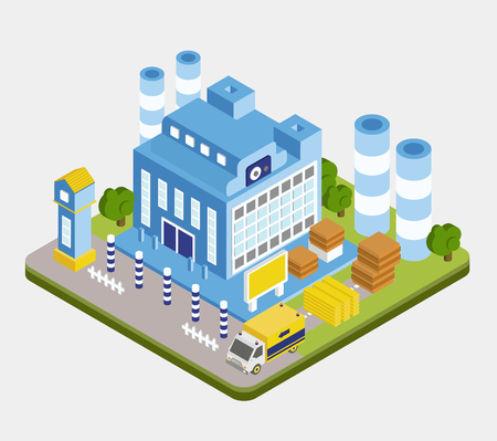 Vector isometric factory building, warehouse flat style