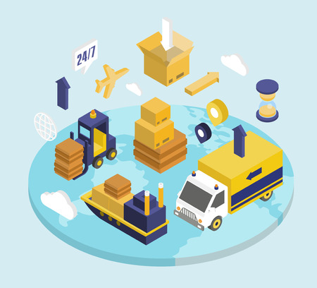 Logistique jeu isométrique avec le transport livraison garde 3d icônes isolé illustration vectorielle