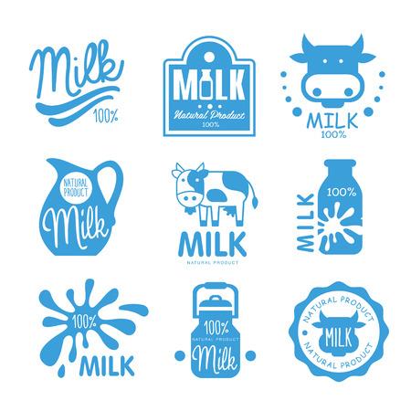 lacteos: Azul y símbolos leche blanca, iconos o logotipos de productos lácteos, diseño granja comida