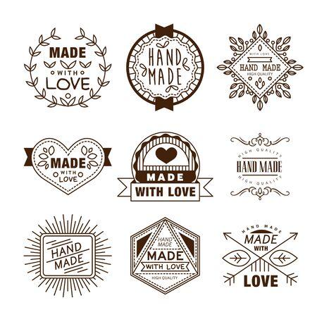 logotypes: Retro design insignias logotypes. Vector vintage elements. Illustration