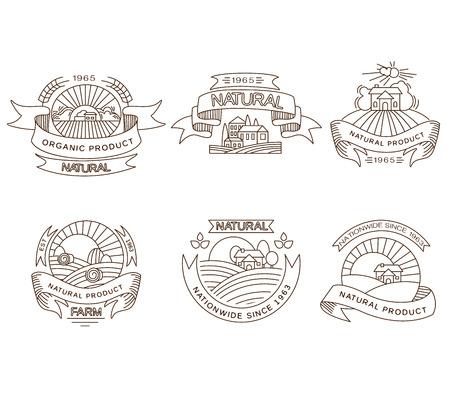 agrarian: Vector retro farm fresh labels, badges and design elements Illustration