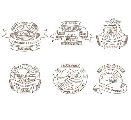 agrarian: Vector retro farm fresh labels, badges and design elements Illustration