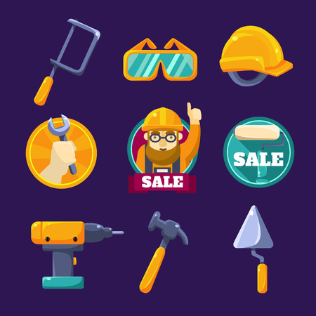 illustration collection: Tools for Building, Sale. Vector Illustration Collection
