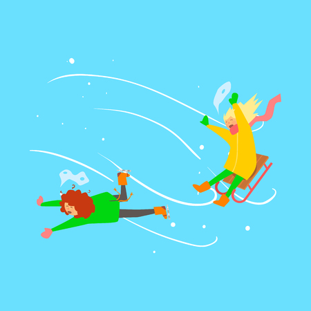 sledging: Winter Sports Kids. Girls Sledging. Vector Illustration Illustration