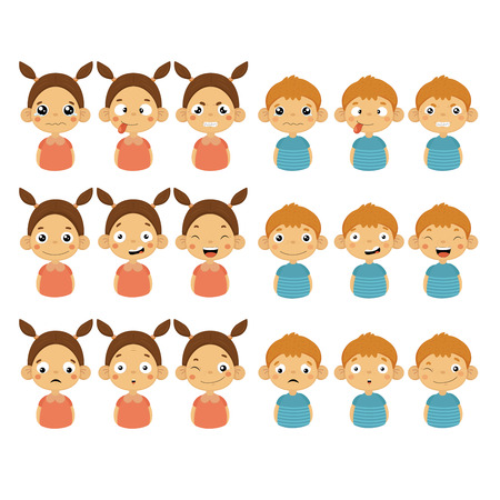 Cute Girl and Boy Faces Showing Different Emotions, Vector Illustrations