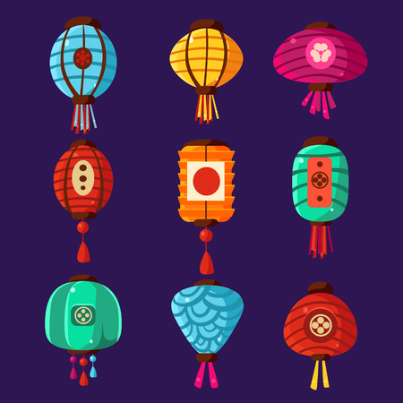 illustration collection: Colourful Traditional Chinese lanterns, Vector Illustration Collection Illustration