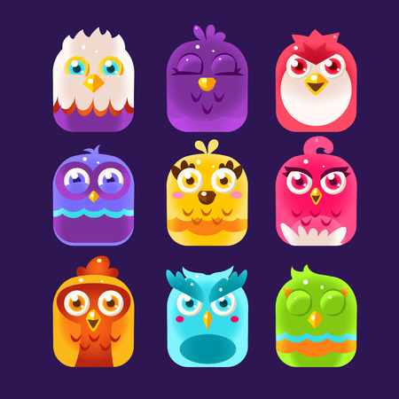 illustration collection: Birds in the boxes, Owl Icons Set. Vector Illustration Collection