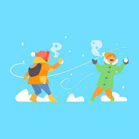 palle di neve: Funny Kids lanciando palle di neve. Stile illustrazione vettoriale piatto