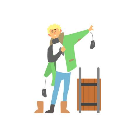 そりと男の子を着ている冬服ベクトル イラスト  イラスト・ベクター素材