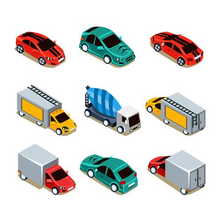 トランスポートのアイコンを設定します。平らな 3 d アイソ メトリック コレクション