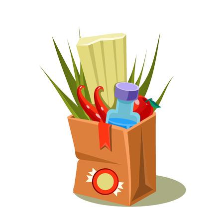 brown paper bag: Brown Paper Bag With Food. Simple Vector Illustration