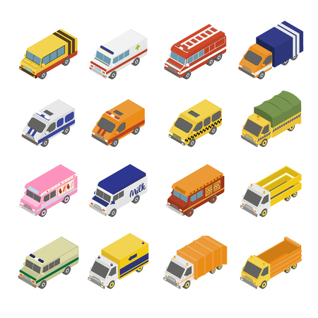 flatbed truck: Utility Transport Icon Set. Flat 3d Isometric Collection