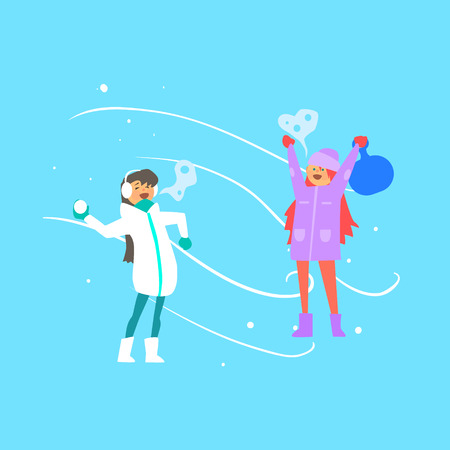 palle di neve: Funny Girls Playing Snowballs. Vector Illustration Flat style