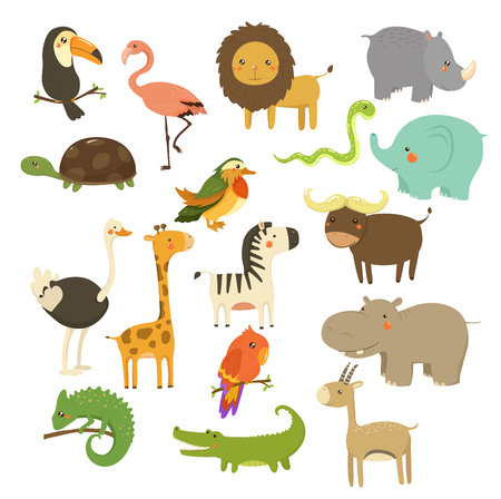 avestruz: Niza Woodland y Jungle Animals Vector Set