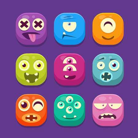 Cute Monster with different emotions Web Icons, Colourful Vector Illustration Set Ilustração