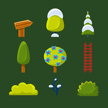 illustration collection: Elements for landscape Trees, Bushes and Sign, Vector Illustration Collection