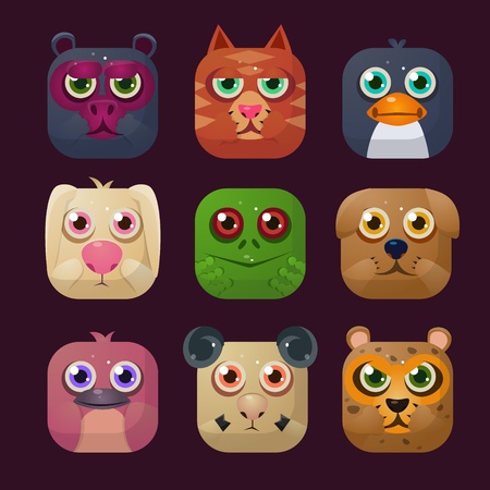 Funny Animal Vector illustration Icon Collection in squares