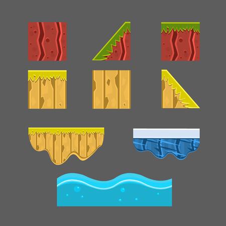 ice brick: Textures for Platformers Vector Illustration Set Elements for landscape