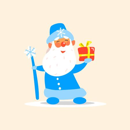grandfather frost: Father Frost with a Present, Flat Vector Illustration