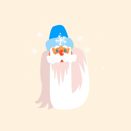 father frost: Father Frost Christmas Portrait, Flat Vector Illustration Illustration