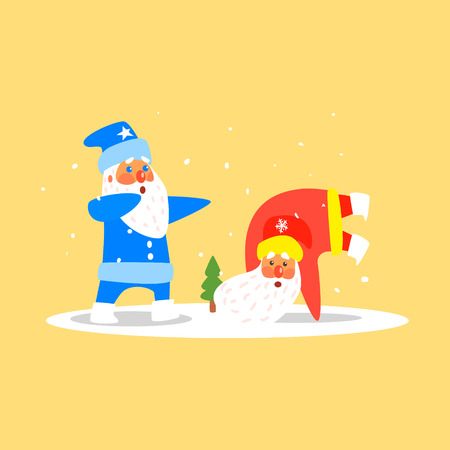 snow man party: Two Dancing Santas. Christmas Vector Illustration in Flat Style