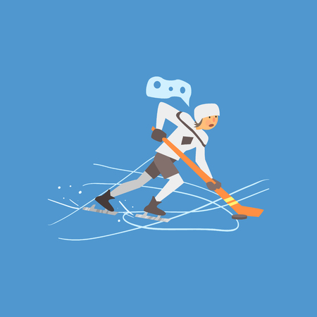 ice skates: Hockey Player on Ice, Vector Illustration in Flat Design