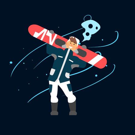 bindings: Boy Holding Snowboard. Vector Illustration in Flat Design Illustration