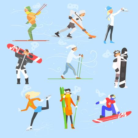 Deportes y Actividades de Invierno. Ilustración vectorial Colección Foto de archivo - 47748586