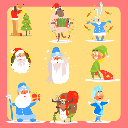 snow maiden: Christmas Icon Set. Flat Vector Illustration Collection Illustration
