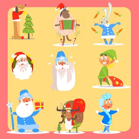 flushed: Christmas Icon Set. Flat Vector Illustration Collection Illustration