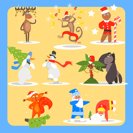 monkey suit: Christmas and New Year Icon Set. Flat Vector Illustration Collection