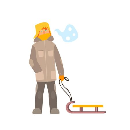 sledging: Boy with Sled. Winter Vector Illustration in Flat Style