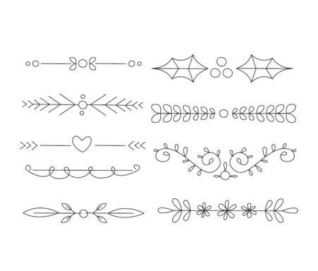 handdrawn: Divider Set. Calligraphic Handdrawn Design Elements. Vector Illustration Set