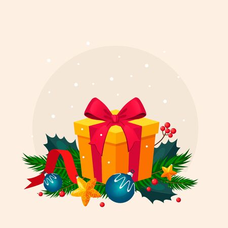 decoration: Christmas Decoration with Fir and Gift. Holiday Vector Illustration