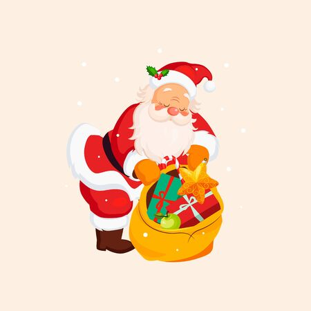 a bag with gifts: Santa Claus holding a Sack with Toys. Christmas Vector Illustration