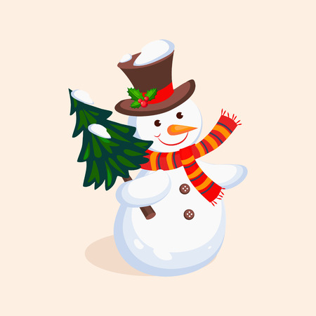 Cheerful Snowman holding a Christmas Tree. Holiday Vector Illustration
