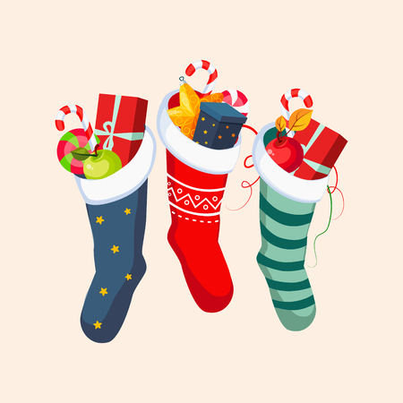 christmas stockings: Christmas Socks with Presents. Winter Vector Illustration Illustration