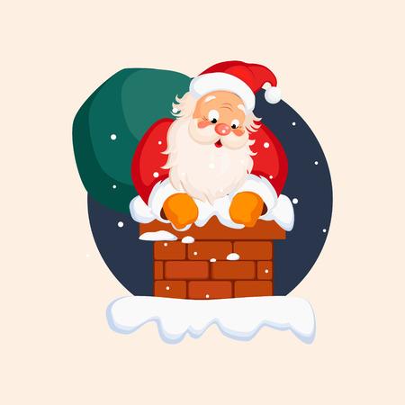 christmas eve: Santa Claus in Chimney on Christmas Eve. Winter Vector Illustration Illustration