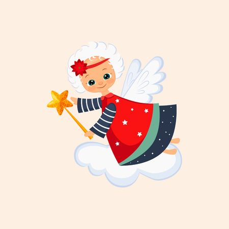 Christmas Angel Flying with a Magic Wand. Winter Vector Illustration
