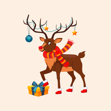 stepping: Deer with a Christmas Garland on the Horns wearing red Boots stepping on a Present Box. Vector Illustration Illustration