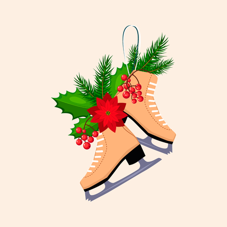 winterberry: Christmas Skates with Fir, Berries and Poinsettia. Holiday Vector Illustration