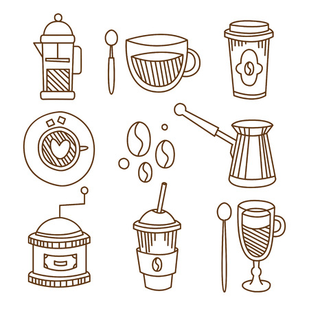 Coffee Elements in Handdrawn Linear Style. Vector Illustration Collection Çizim