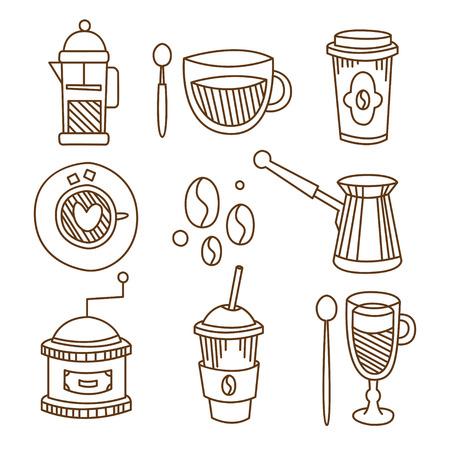 Koffie elementen in handgetekende lineaire stijl. Vector illustratie collectie