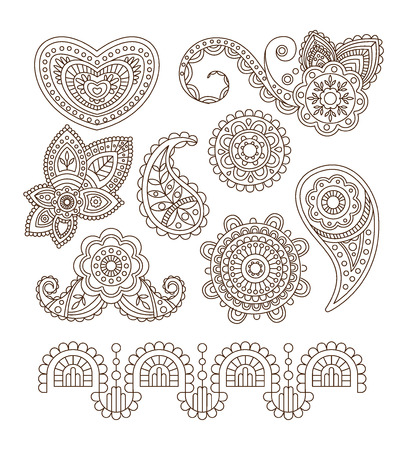 Indian Floral Ornaments, Mandala, Henna. Linear Vector Illustration Set