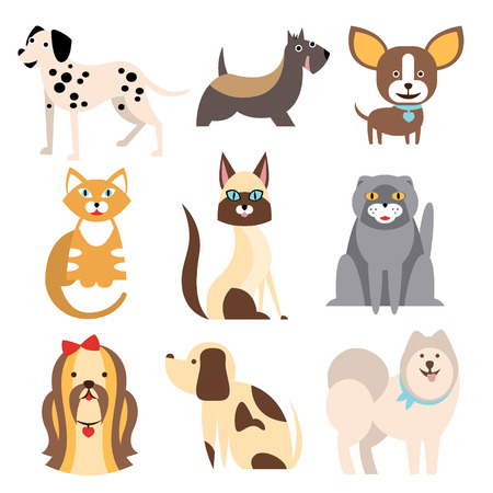 Collection of Cats and Dogs of Different Breeds. Vector Illustration Set